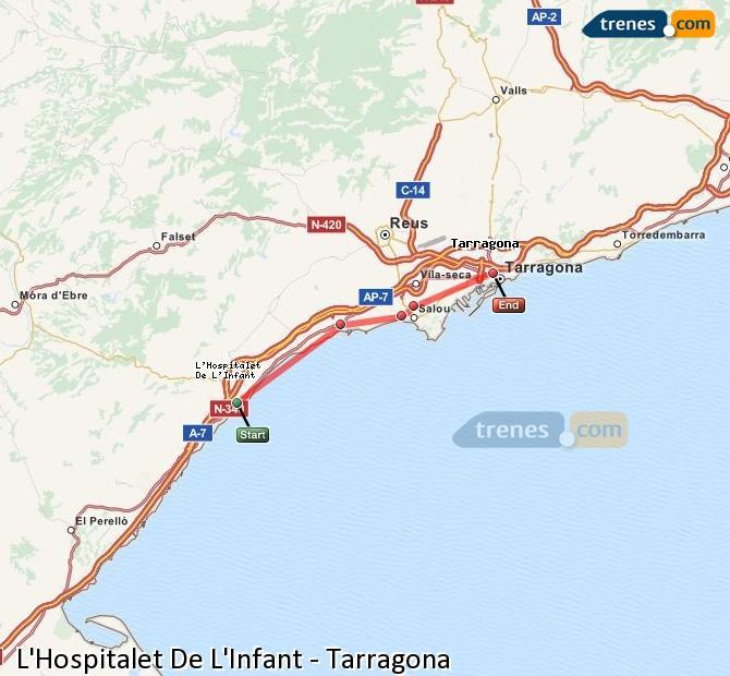 Ampliar mapa Comboios L'Hospitalet De L'Infant Tarragona