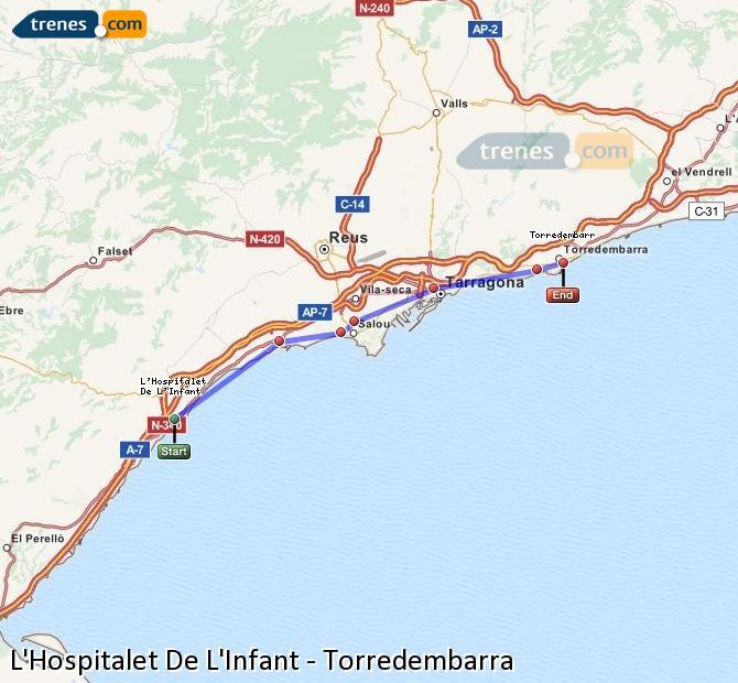 Agrandir la carte Trains L'Hospitalet De L'Infant Torredembarra