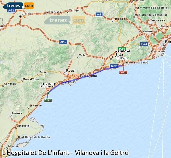 Ingrandisci la mappa Treni L'Hospitalet De L'Infant Vilanova i la Geltrú