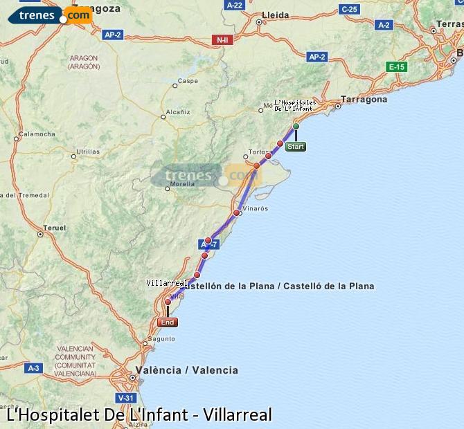 Ampliar mapa Trenes L'Hospitalet De L'Infant Villarreal