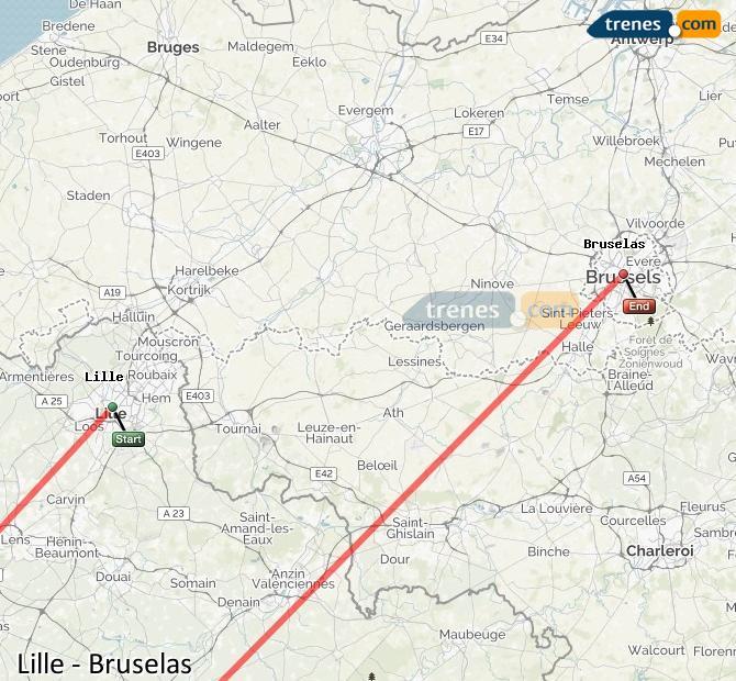 Agrandir la carte Trains Lille Bruxelles