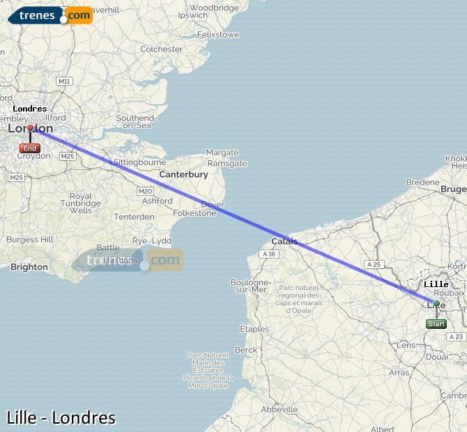 Karte vergrößern Züge Lille London