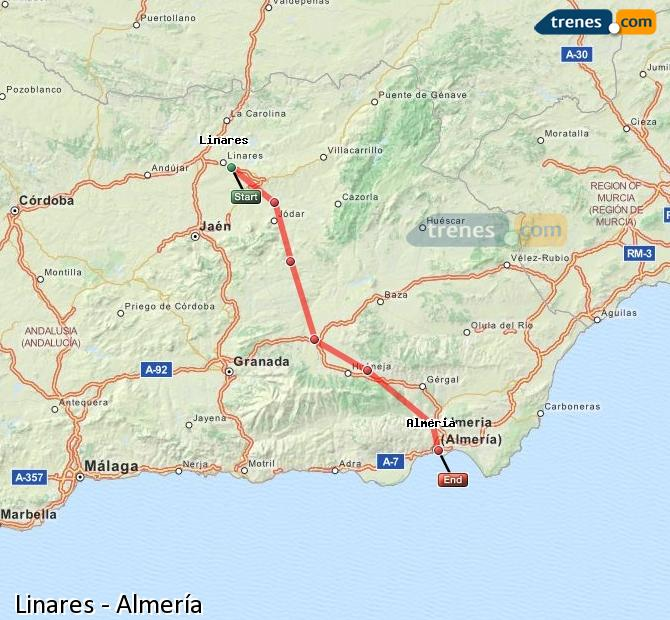 Enlarge map Trains Linares to Almeria