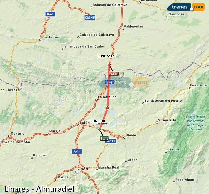 Agrandir la carte Trains Linares Almuradiel