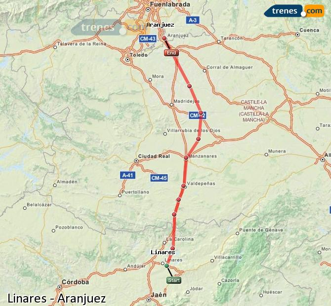 Enlarge map Trains Linares to Aranjuez