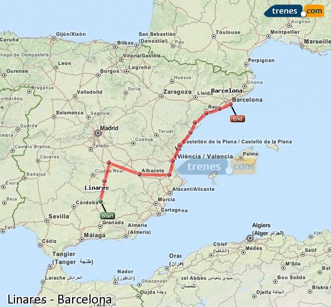 Enlarge map Trains Linares to Barcelona