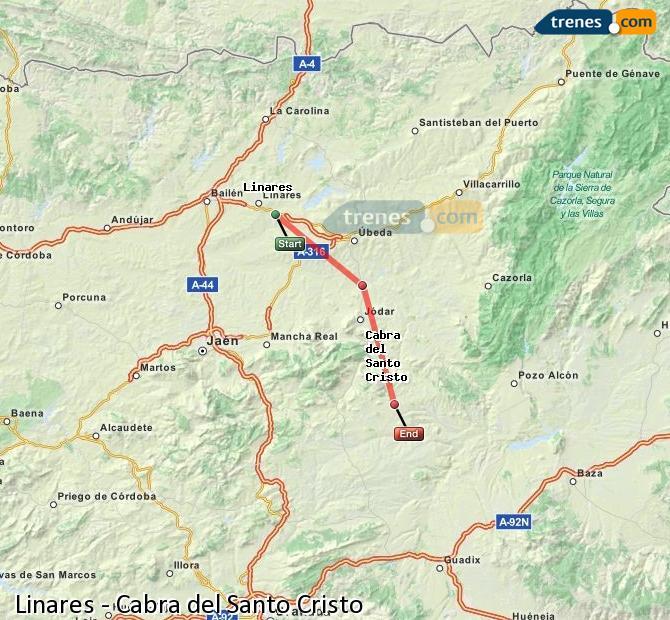 Agrandir la carte Trains Linares Cabra del Santo Cristo