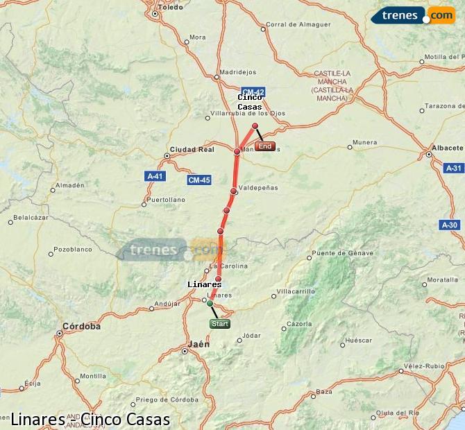Agrandir la carte Trains Linares Cinco Casas