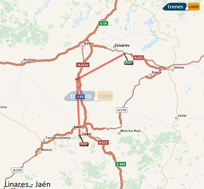 Ampliar mapa Comboios Linares Jaén