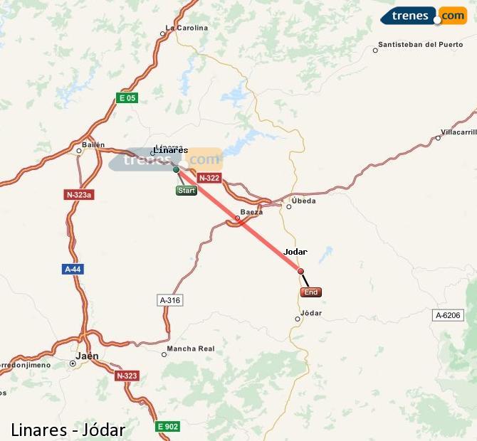 Agrandir la carte Trains Linares Jódar