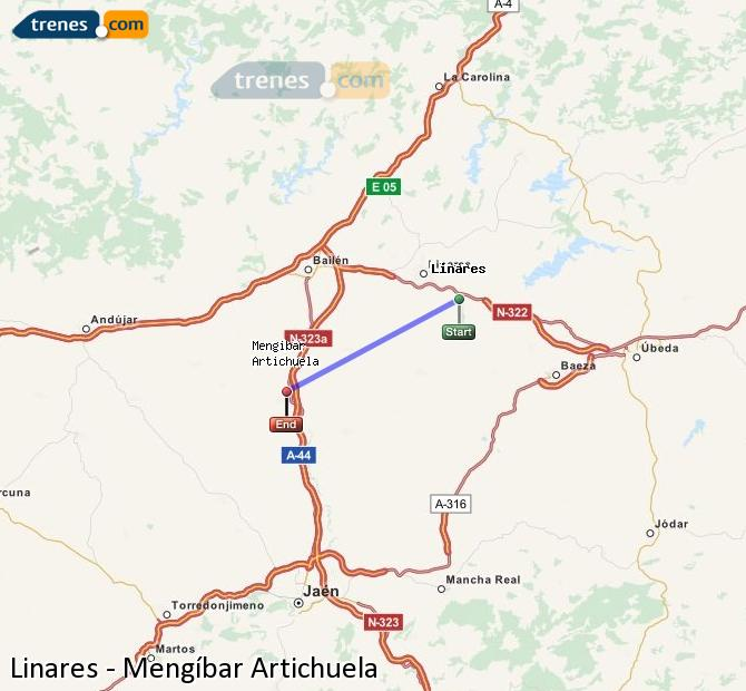 Enlarge map Trains Linares to Mengíbar Artichuela