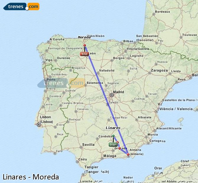 Ingrandisci la mappa Treni Linares Moreda