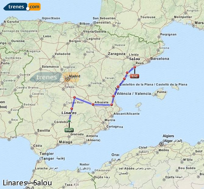 Enlarge map Trains Linares to Salou