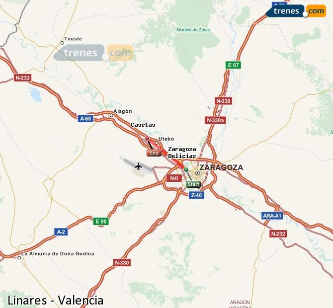 Enlarge map Trains Linares to Valencia