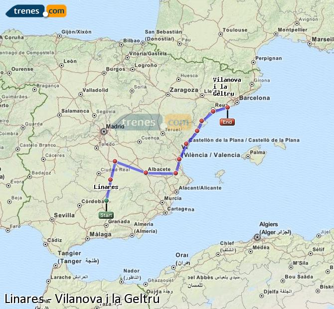 Enlarge map Trains Linares to Vilanova i la Geltrú