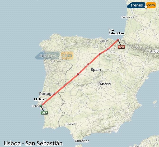 Agrandir la carte Trains  San Sebastián