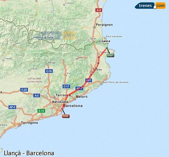 Agrandir la carte Trains Llançà Barcelone