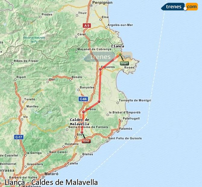 Karte vergrößern Züge Llançà Caldes de Malavella