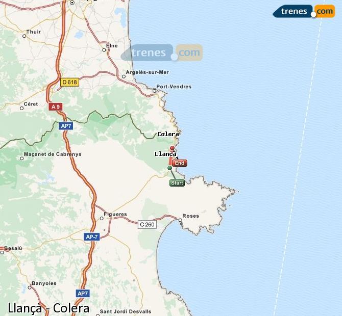 Ingrandisci la mappa Treni Llançà Colera