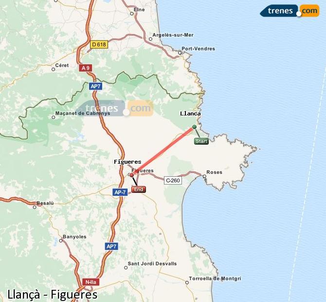 Agrandir la carte Trains Llançà Figueres