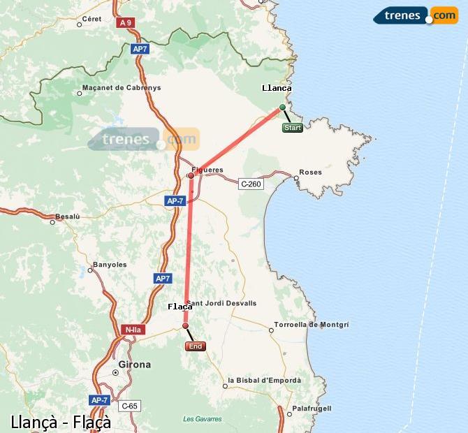 Karte vergrößern Züge Llançà Flaçà