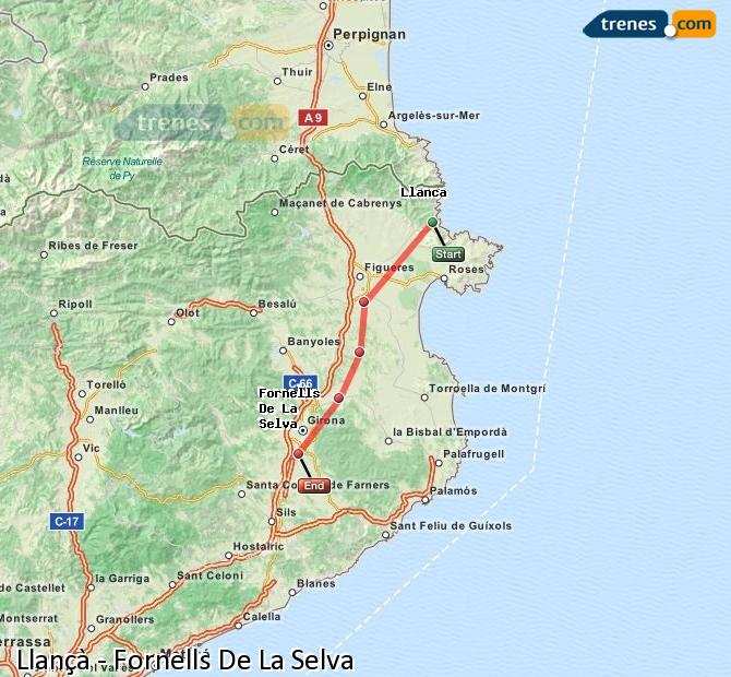 Enlarge map Trains Llançà to Fornells De La Selva