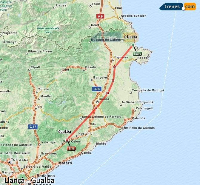 Karte vergrößern Züge Llançà Gualba