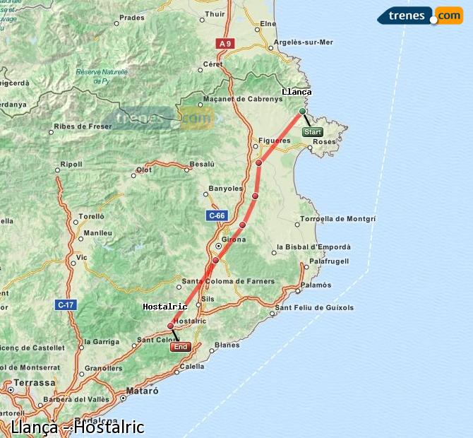 Karte vergrößern Züge Llançà Hostalric