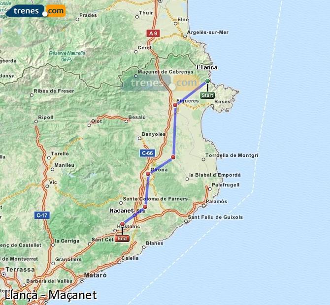 Karte vergrößern Züge Llançà Maçanet