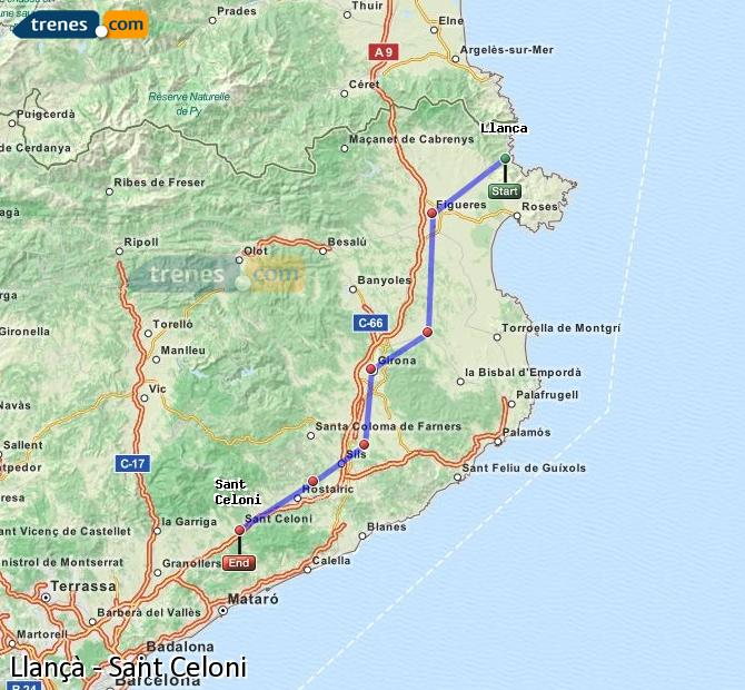 Ingrandisci la mappa Treni Llançà Sant Celoni