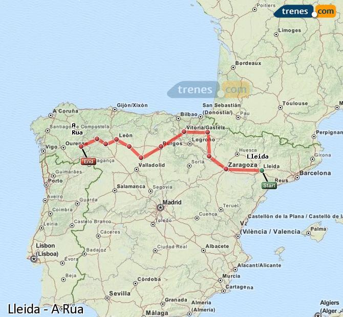 Ampliar mapa Comboios Lleida A Rua