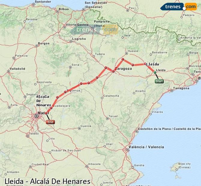 Agrandir la carte Trains Lleida Alcalá De Henares