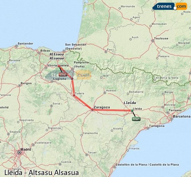 Karte vergrößern Züge Lleida Altsasu Alsasua