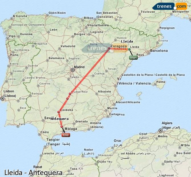 Enlarge map Trains Lleida to Antequera