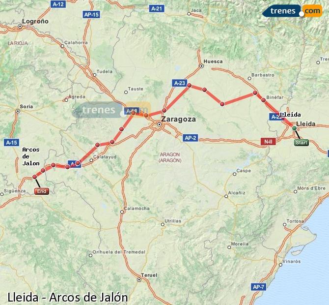 Ingrandisci la mappa Treni Lleida Arcos de Jalón