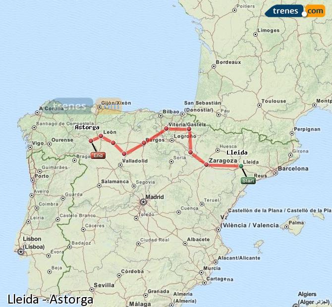 Karte vergrößern Züge Lleida Astorga
