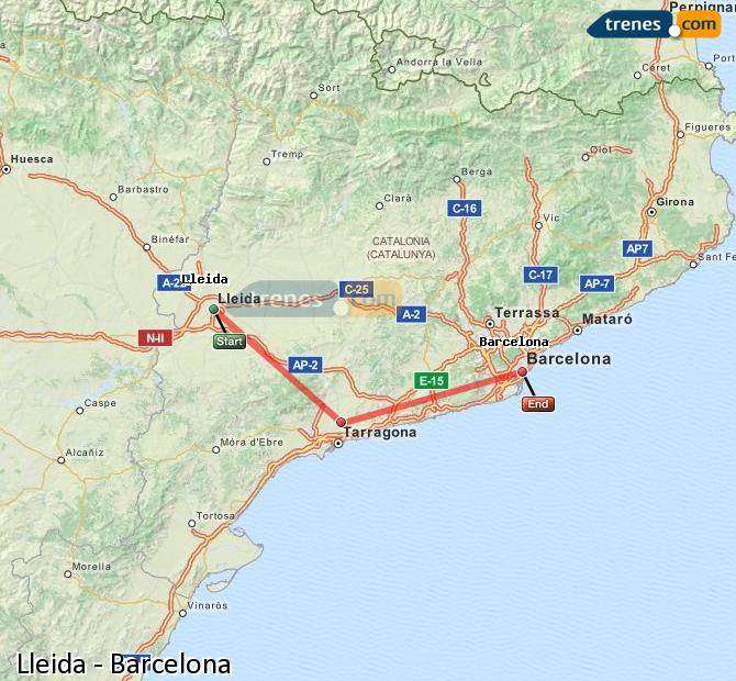 Enlarge map Trains Lleida to Barcelona
