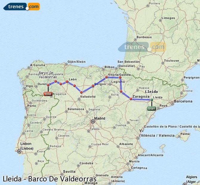 Ampliar mapa Comboios Lleida Barco De Valdeorras