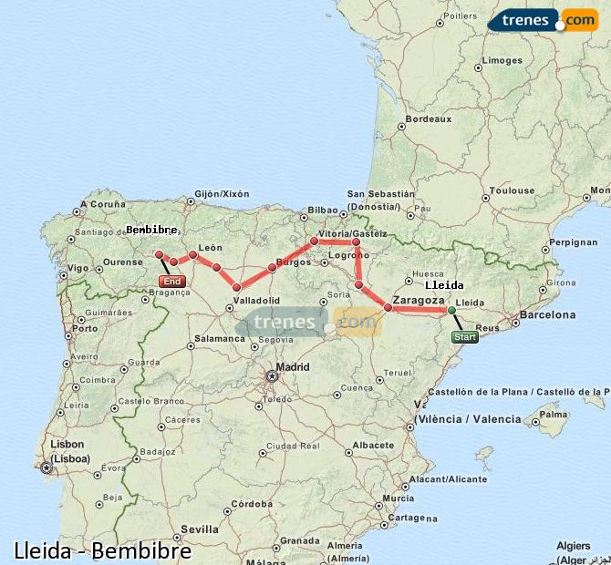 Ampliar mapa Trenes Lleida Bembibre