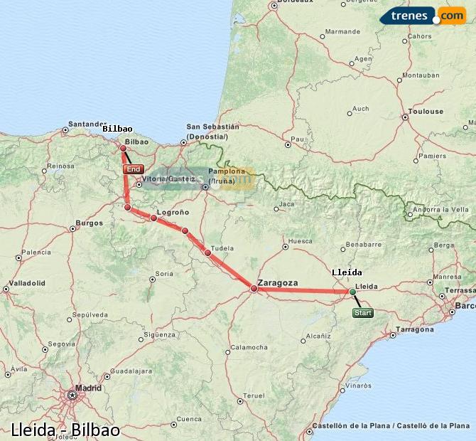 Enlarge map Trains Lleida to Bilbao