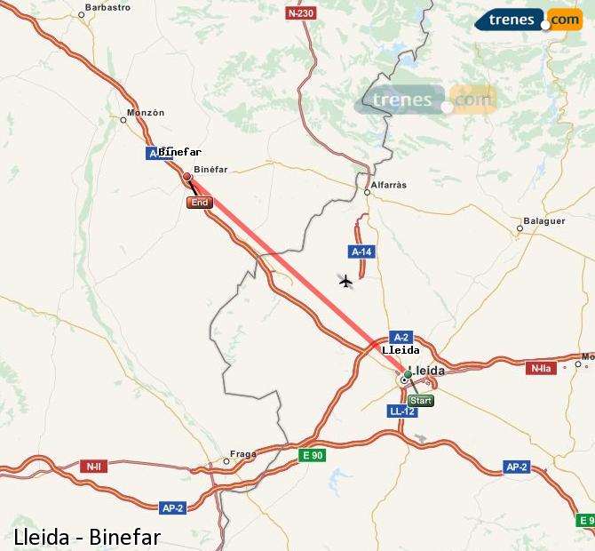 Ampliar mapa Comboios Lleida Binefar