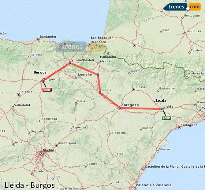 Karte vergrößern Züge Lleida Burgos