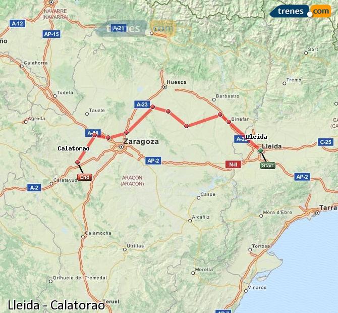Karte vergrößern Züge Lleida Calatorao