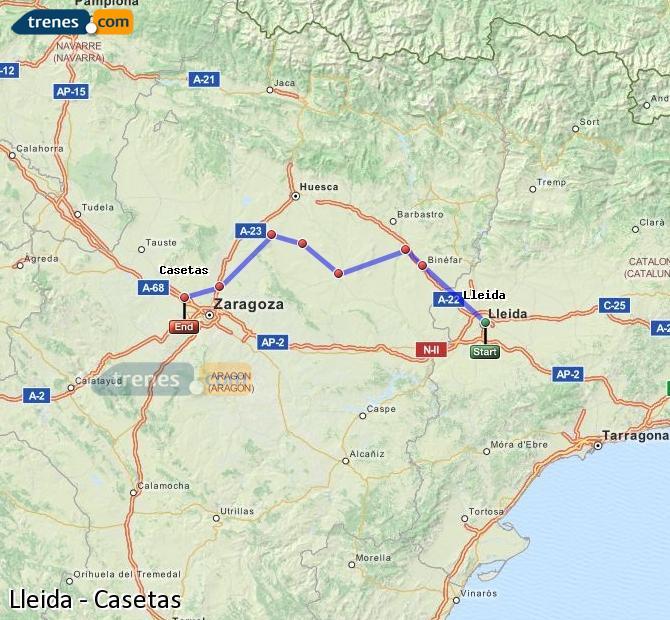 Karte vergrößern Züge Lleida Casetas