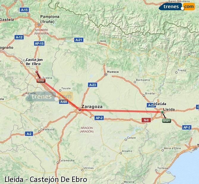 Ampliar mapa Comboios Lleida Castejón De Ebro