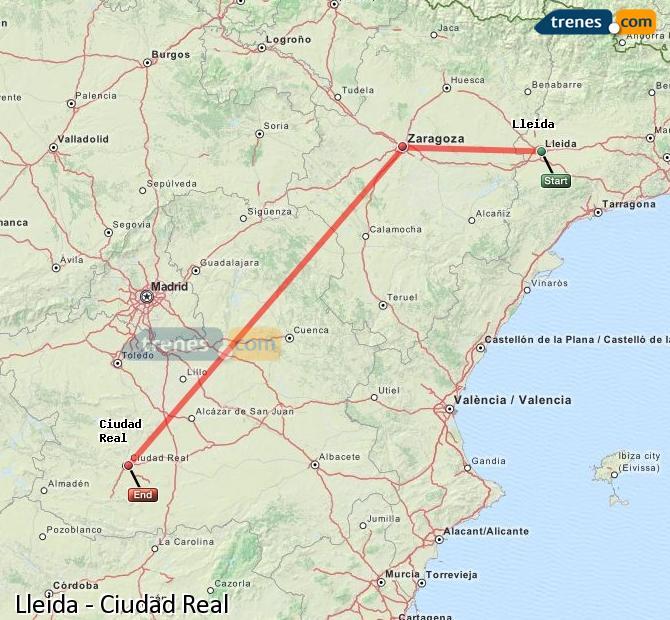 Ampliar mapa Trenes Lleida Ciudad Real