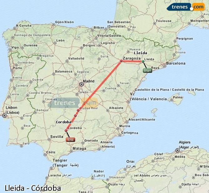Agrandir la carte Trains Lleida Córdoba