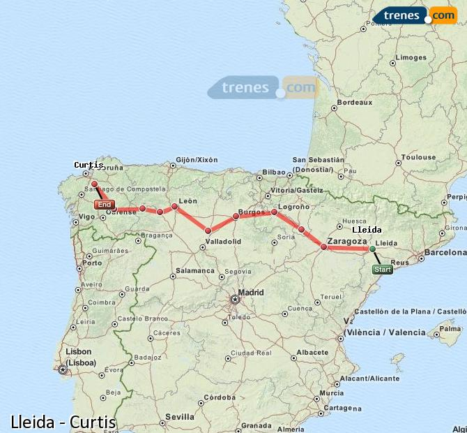 Enlarge map Trains Lleida to Curtis