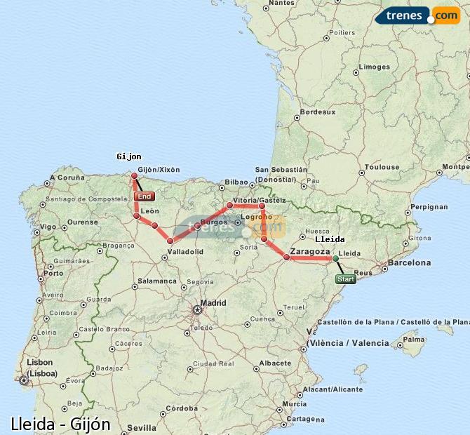 Ingrandisci la mappa Treni Lleida Gijón