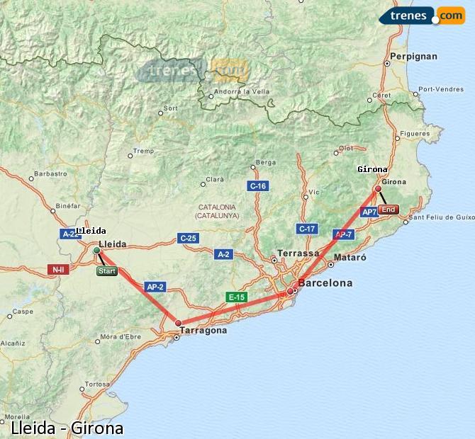 Ingrandisci la mappa Treni Lleida Girona